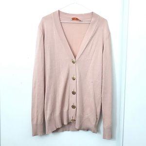 Tory Burch Simone Merino Wool Cardigan Pale Pink